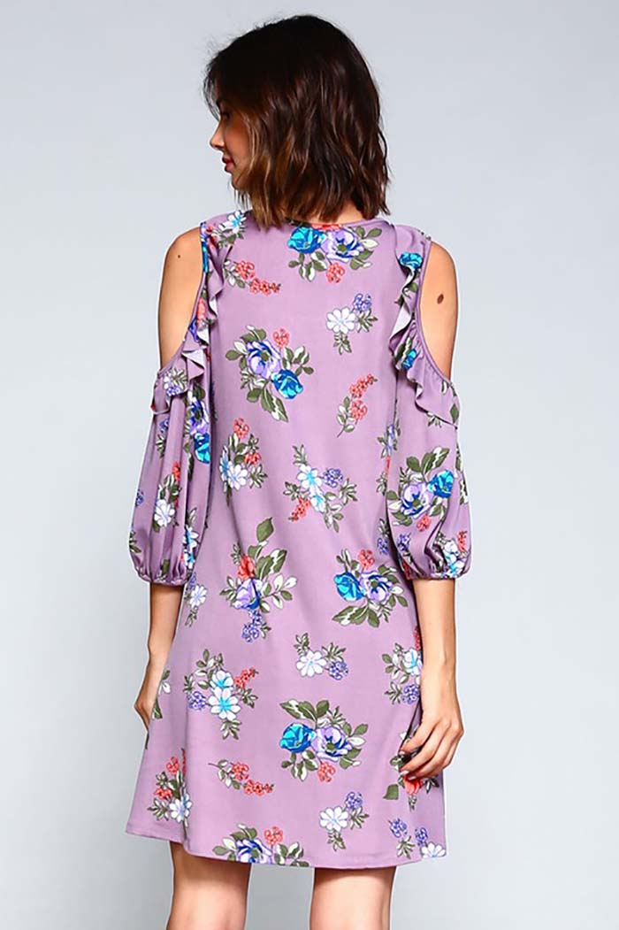 Ayla Ruffle Cold Shoulder Floral Print Dress : Lilac