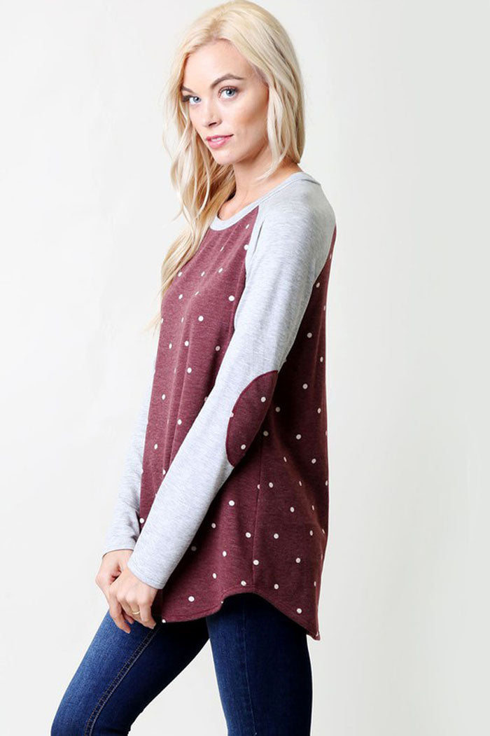 Polka Dot Raglan Shirt : Charcoal/Heather grey
