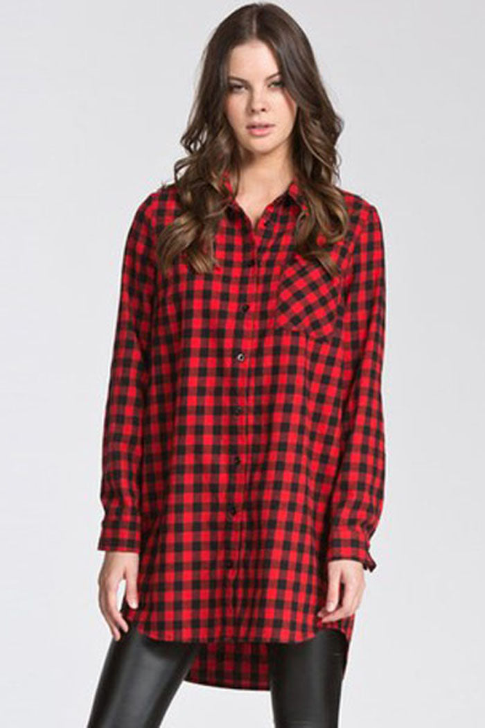 Ginny Flannel Tunic Shirt : Red