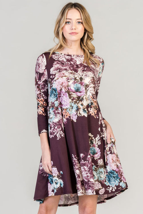 Multi Floral Swing Mini Dress - Plum.