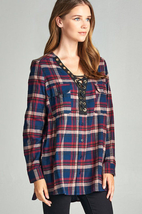 Kristin Oversize Plaid Top : Navy/Burgundy