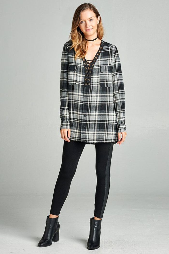 Kristin Oversize Plaid Top : Black/Khaki