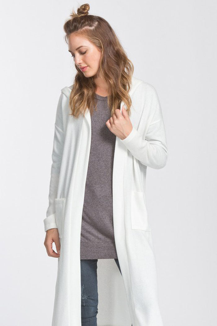Maggie Hooded Cardigan : Ivory