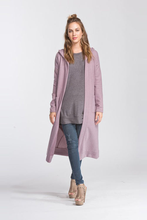 Maggie Hooded Cardigan : Mauve