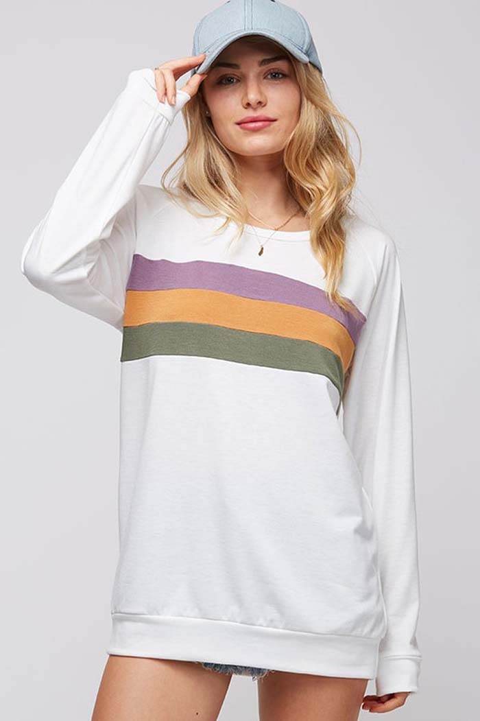 Donna Color Block Top : Off White