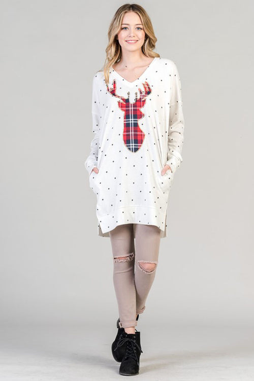 Diana Reindeer Patch Tunic : Ivory