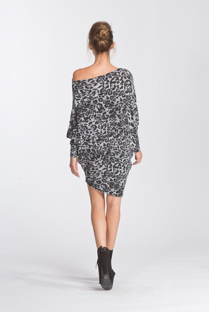 Chloe Leopard One Shoulder Dress : Grey