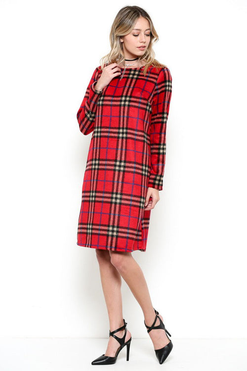 Lovely Red Plaid Dress