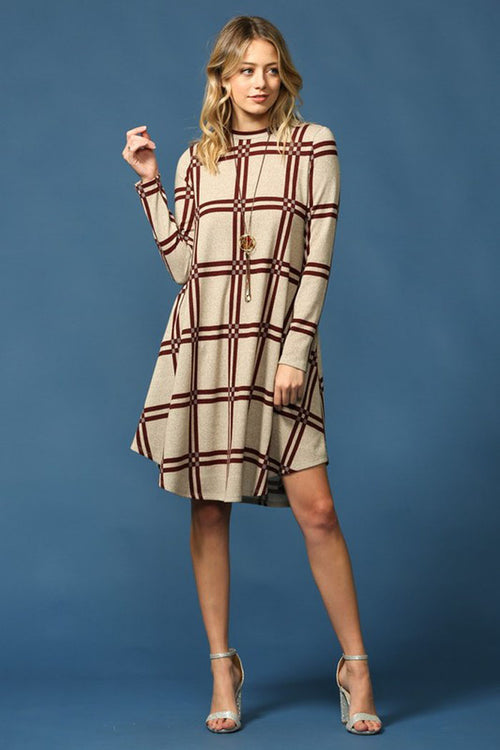 Comfy Plaid Dress : Taupe