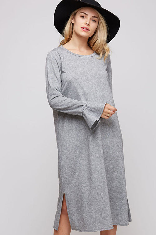 Olivia Comfy Midi Dress : Heather Grey