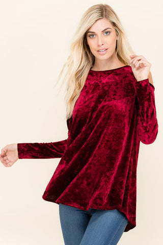 Jane Velvet Loose Top : Burgundy