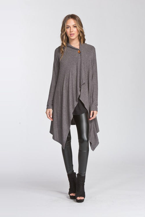 Erin Wrap Duster Cardigan : Charcoal