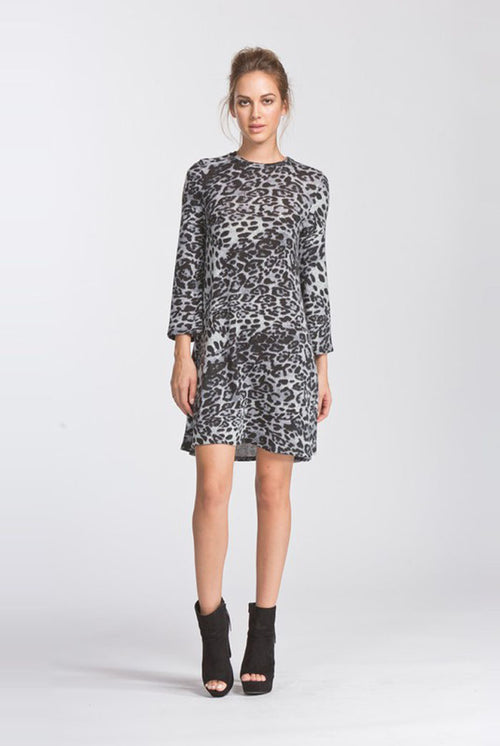 Scarlett Leopard Midi Dress : Grey