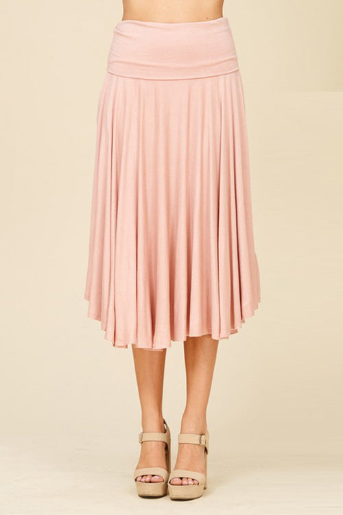 Cyndy Basic Midi Skirt : Mauve