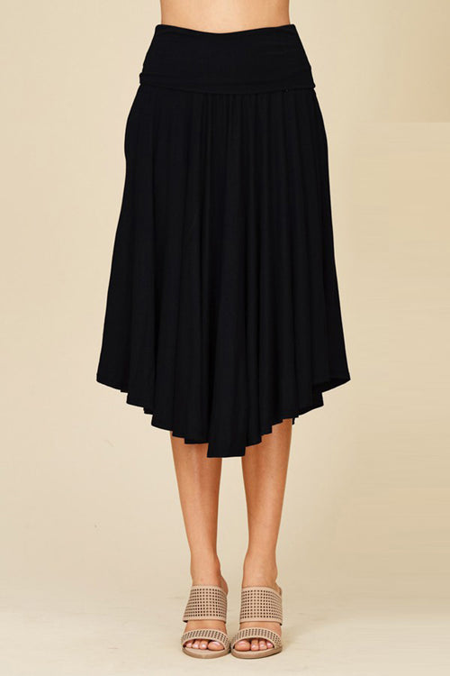 Cyndy Basic Midi Skirt : Black