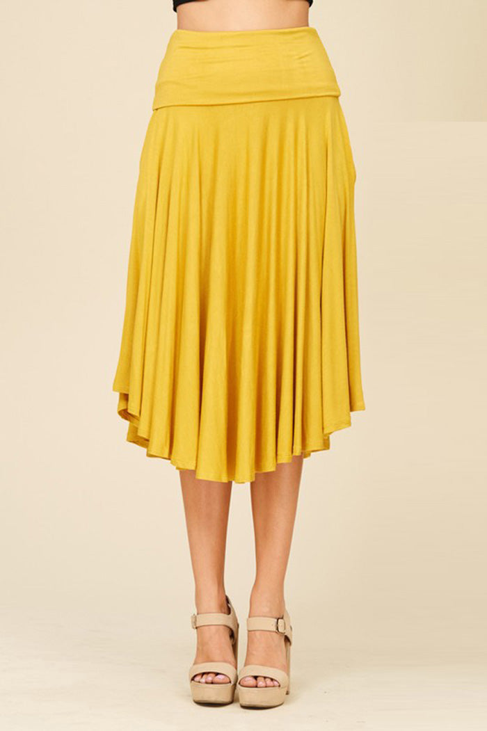 Cyndy Basic Midi Skirt : Mustard