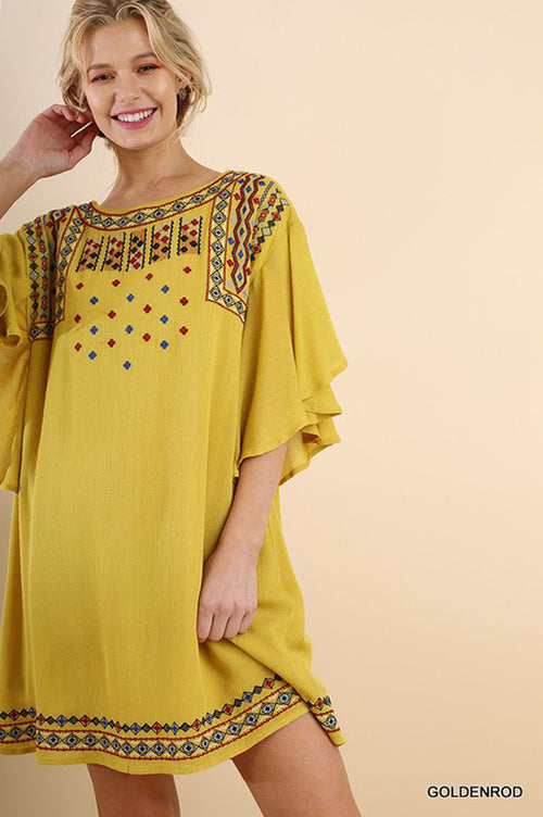 Elise Boho Midi Dress : Goldenrod