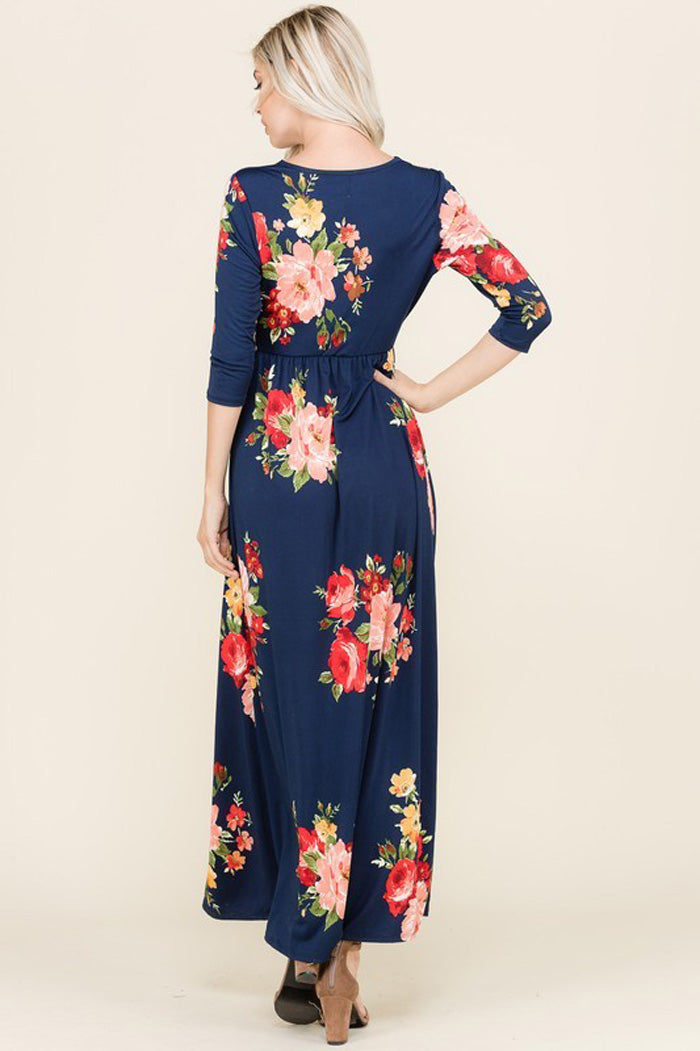 Natalie Floral Knot Maxi : Navy