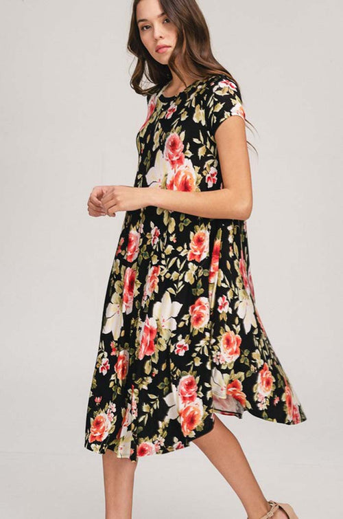 Lilliana Floral Swing Dress : Black
