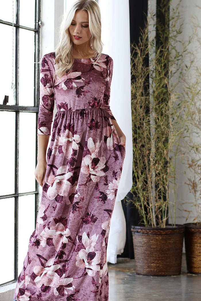 Carolyn Floral Velvet Dress : Mauve