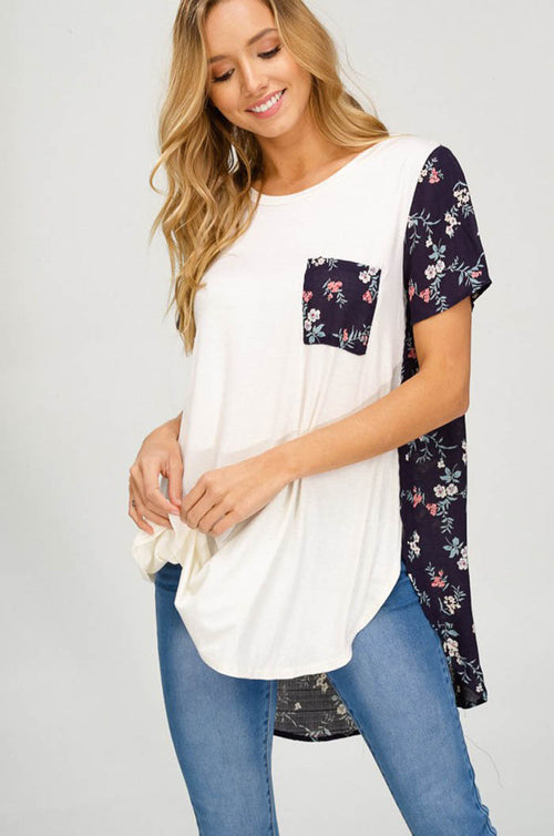Ruby Floral Contrast Tunic : Ivory