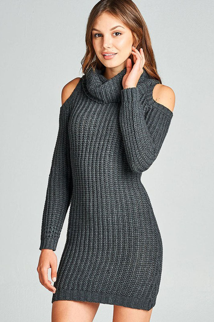 Rebecca Cold Shoulder Dress : Charcoal Grey