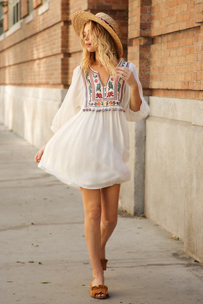 Diana Boho Floral Dress : Off White