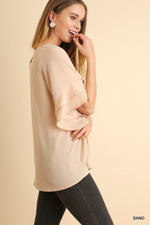 Anna Layered Ruffle Top : Sand.