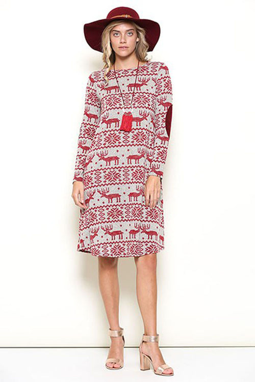 Willow Christmas Midi Dress : Red