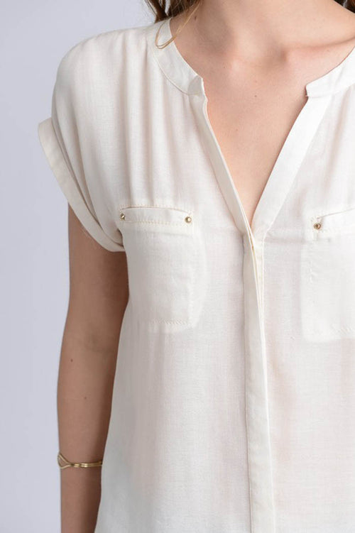 Caroline Semi-Sheer Blouse : Ivory