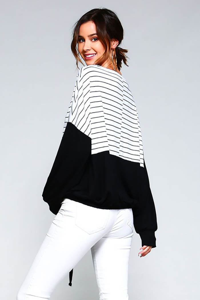 Aria Striped Loose Top : White/Black