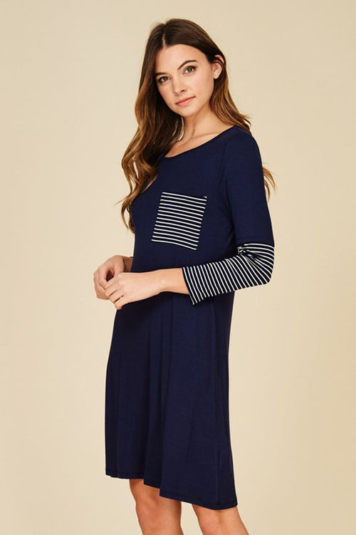 Hannah  Stripe Contrast Dress : Navy/Navy