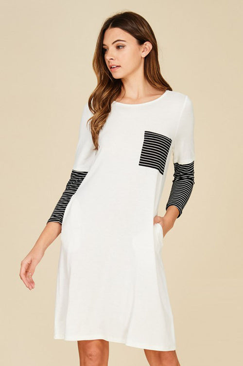 Hannah  Stripe Contrast Dress : Ivory/Black