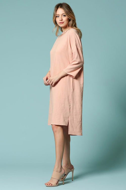 Reese Linen Midi Dress : Blush