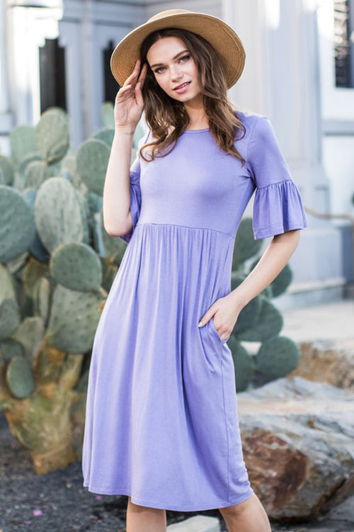 Chloe Bell Sleeve Dress : Lavender