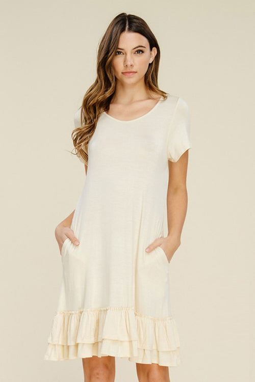Hazel Layered Ruffle Dress : Beige