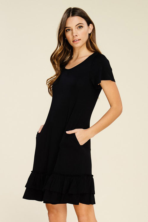 Hazel Layered Ruffle Dress : Black