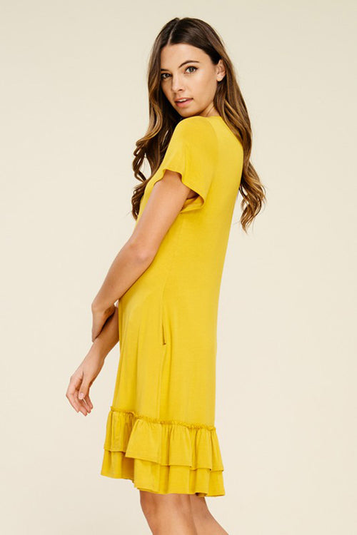 Hazel Layered Ruffle Dress : Mustard