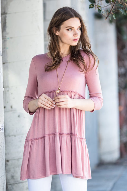 Riley Layered Dress : Mauve