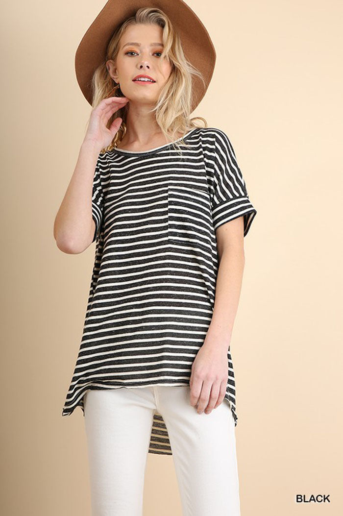Julia Basic Stripe Top : Black