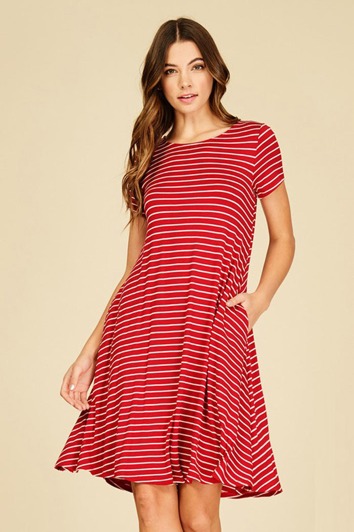 79e3fdec5c Hannah Stripe Midi Dress : Red/Ivory – GOZON Boutique