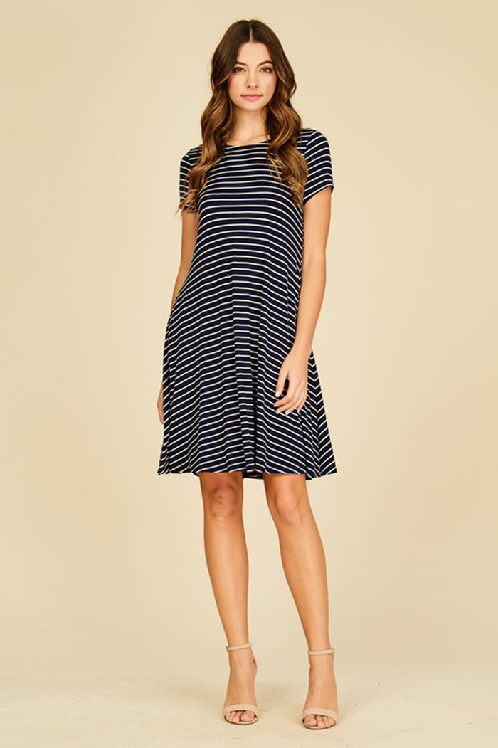 Hannah Stripe Midi Dress : Navy/Ivory