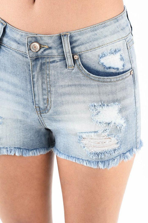 Jessica Distressed Denim Shorts : Light Blue