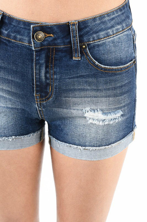 Luna Denim Shorts : Dark Blue
