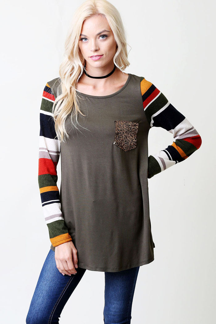 Striped Top with Pocket : Olive