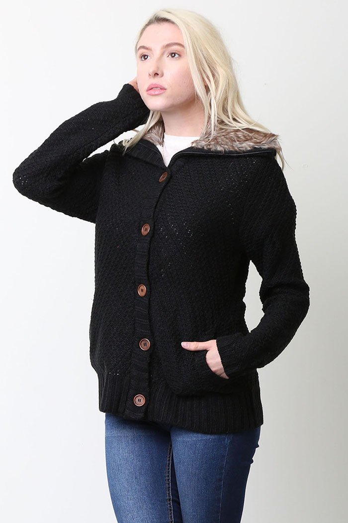 Angelina Sweater Cardigan With Fur Collar