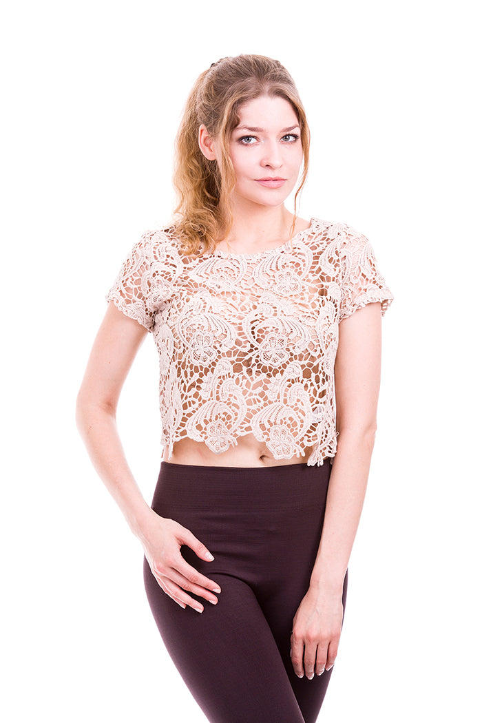 Solid Knit Crochet Lace Top