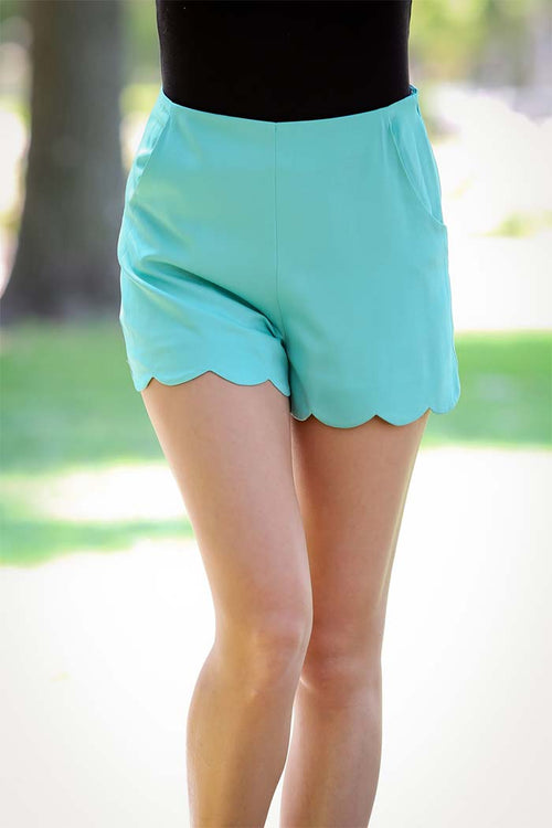 Solid Summer Scallop Shorts