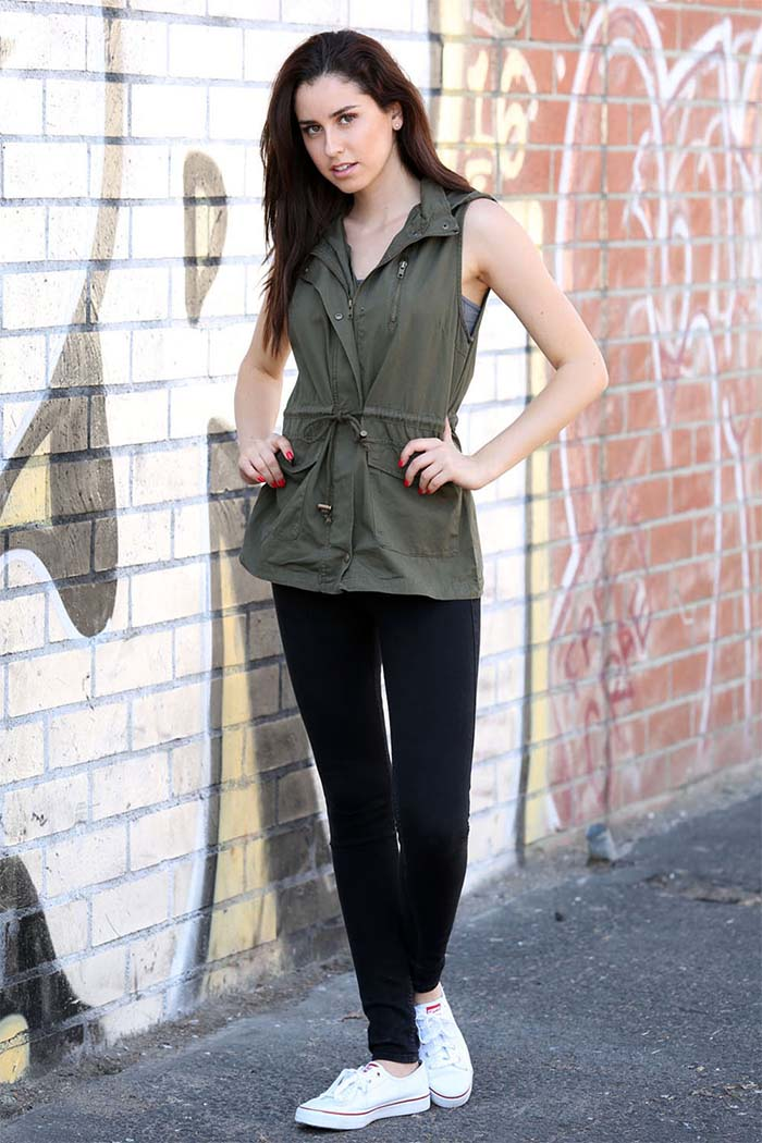 Zip Up Front Solid Vest Jacket