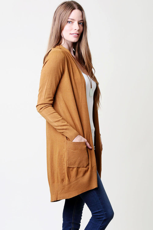 Solid Long-Line Cardigan : Mustard